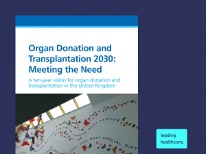 NHS Blood and Transplant launch organ donation and transplantation 'meeting the need' strategy